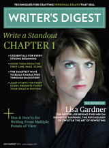 Lisa Gardner looking like a boss on the cover of the latest issue of Writer's Digest.